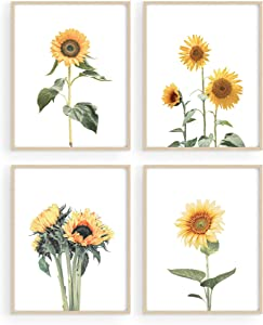 """HAUS AND HUES Sunflower Wall Decor and Sunflower Posters Sunflower Bedroom Decor   Sunflower Paintings for Wall   Yellow Wall Art   Kitchen Decor Sunflower, Sunflower Decor (8"""" x 10"""", UNFRAMED)"""