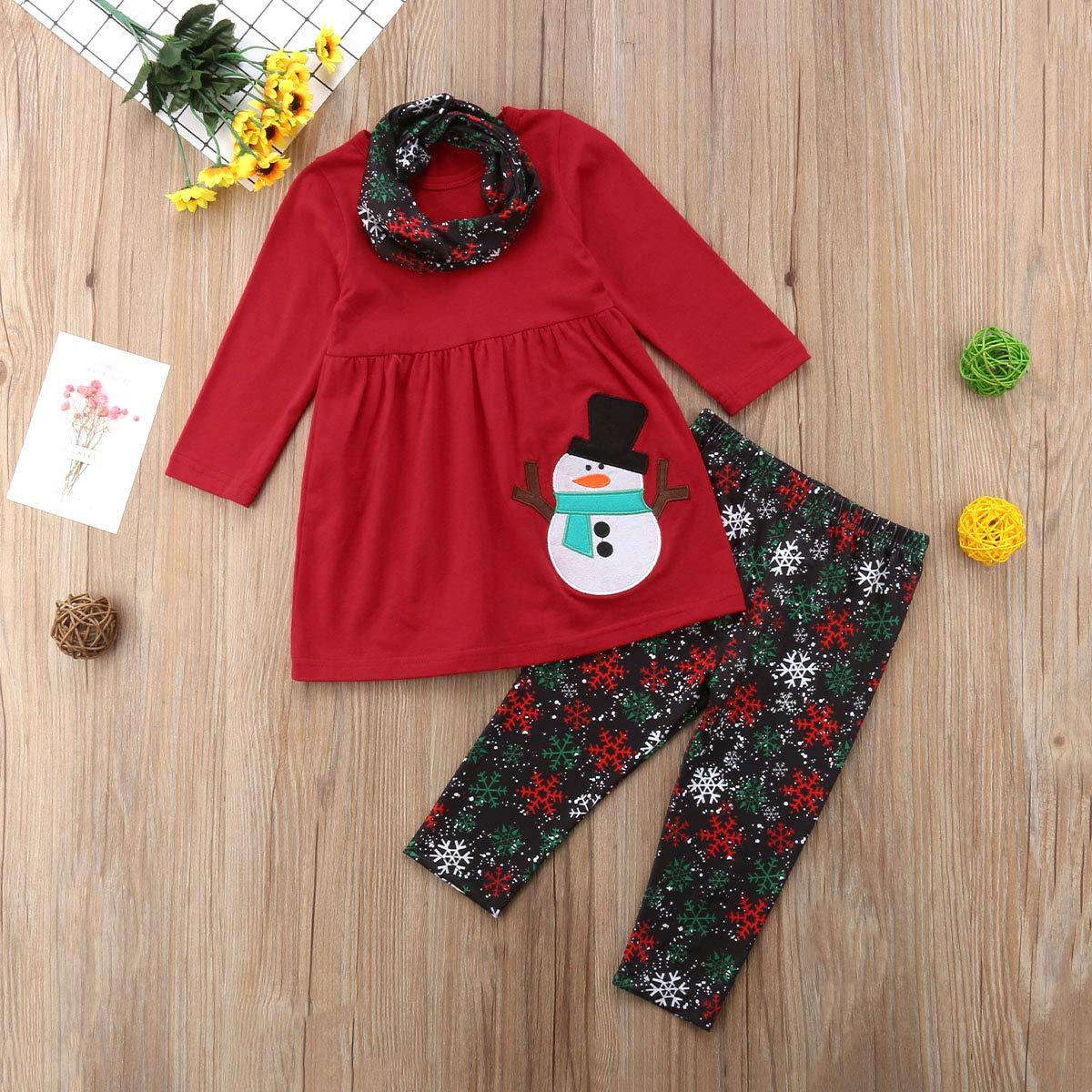LXXIASHI Kids Toddler Baby Girl Christmas Long Sleeve Snowman T-Shirt Dress Snowflakes Pants Outfits