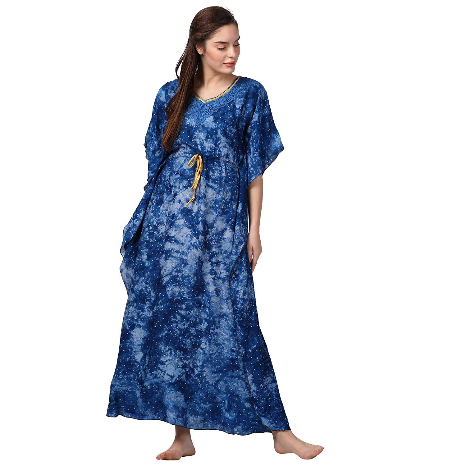 fbcf1500de GOLDSTROMS Minelli Women Printed Kaftan Blue Dress  Amazon.in  Clothing    Accessories