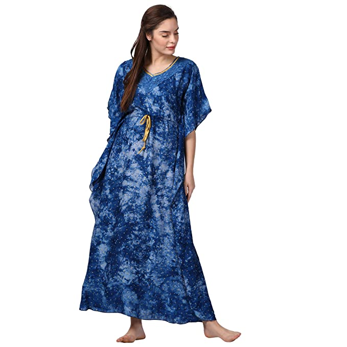 GOLDSTROMS Minelli Women Printed Kaftan Blue Dress  Amazon.in  Clothing    Accessories 3778c3cc7
