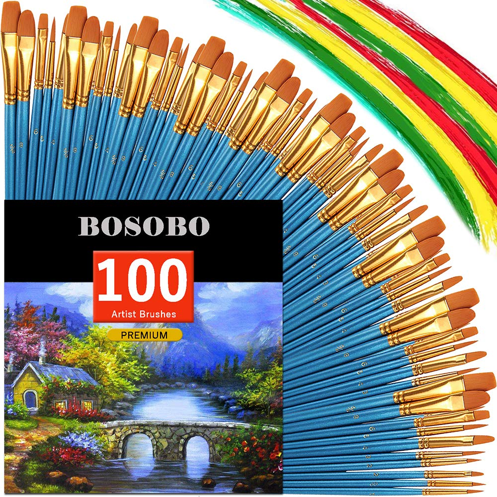 BOSOBO Round-Pointed Paintbrush Sets, 10 Pack / 100 pcs Fine Tip Nylon Hair Wooden Handle Detail Artist Paint Brushes in Bulk for Acrylic Watercolor Oil Painting, Craft Ceramics Face Painting, Blue by BOSOBO