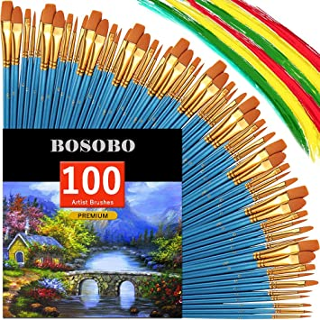 Bosobo Round Pointed Paintbrush Sets 10 Pack 100 Pcs Fine Tip Nylon Hair Wooden Handle Detail Artist Paint Brushes In Bulk For Acrylic Watercolor