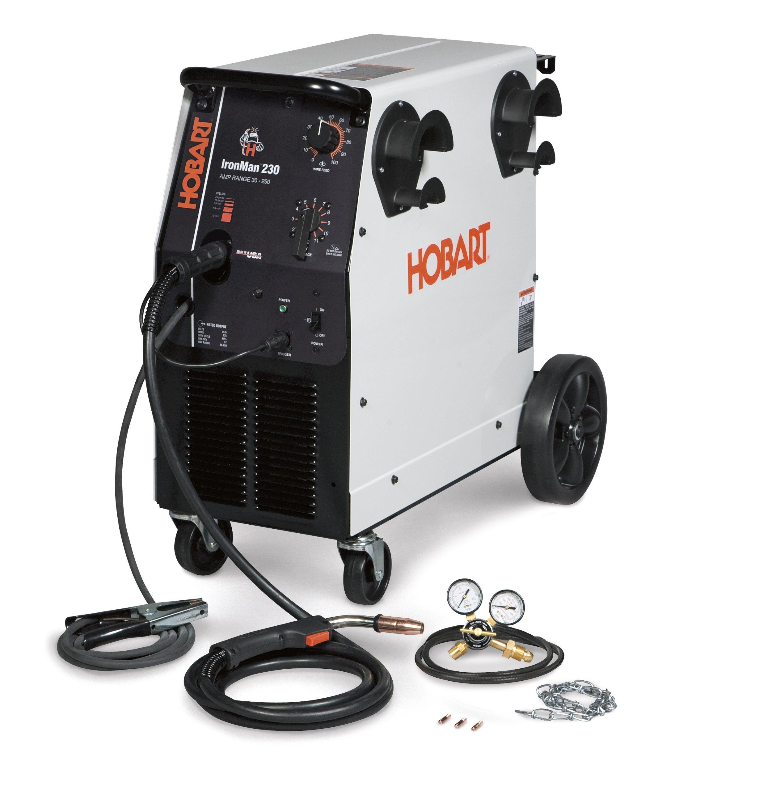 Hobart 500536 Ironman 230 MIG Welder With Wheel Kit & Cylinder Rack