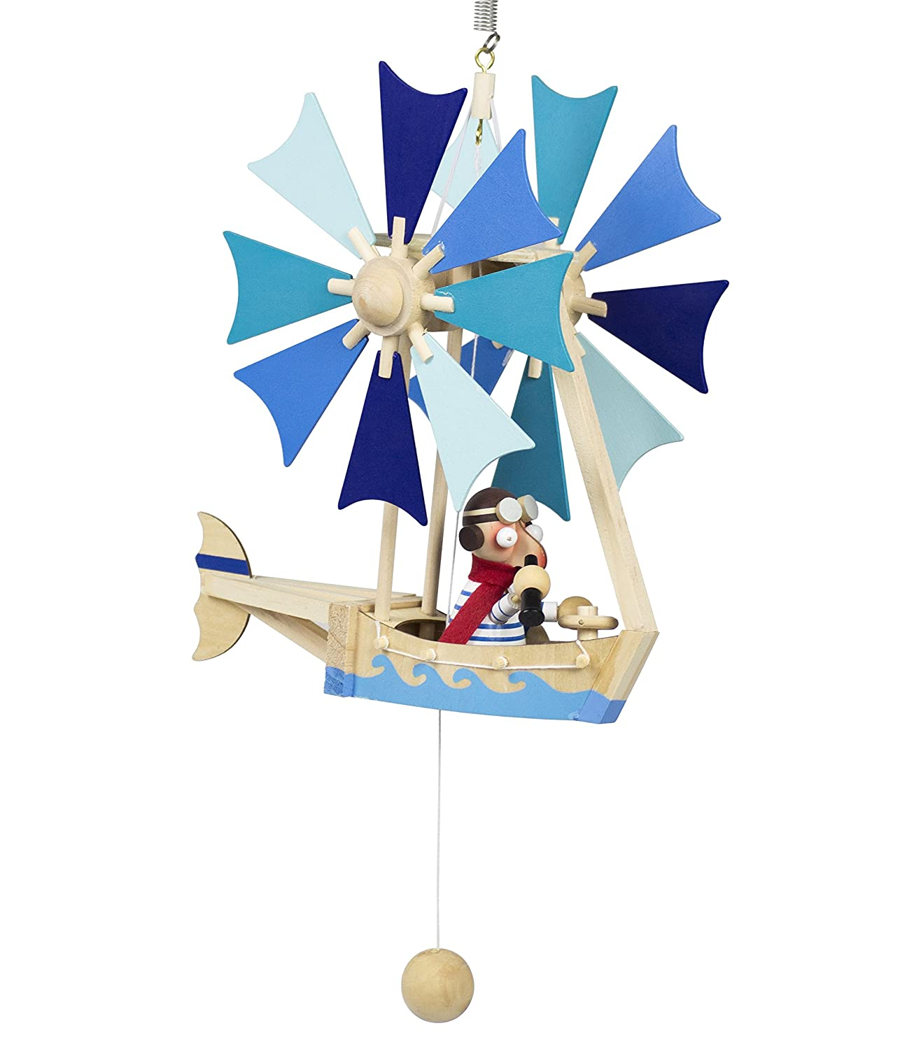Wupper Airlines Wooden Hanging Mobile (Blue windwheel boat) by Wupper Airlines   B005406N4I