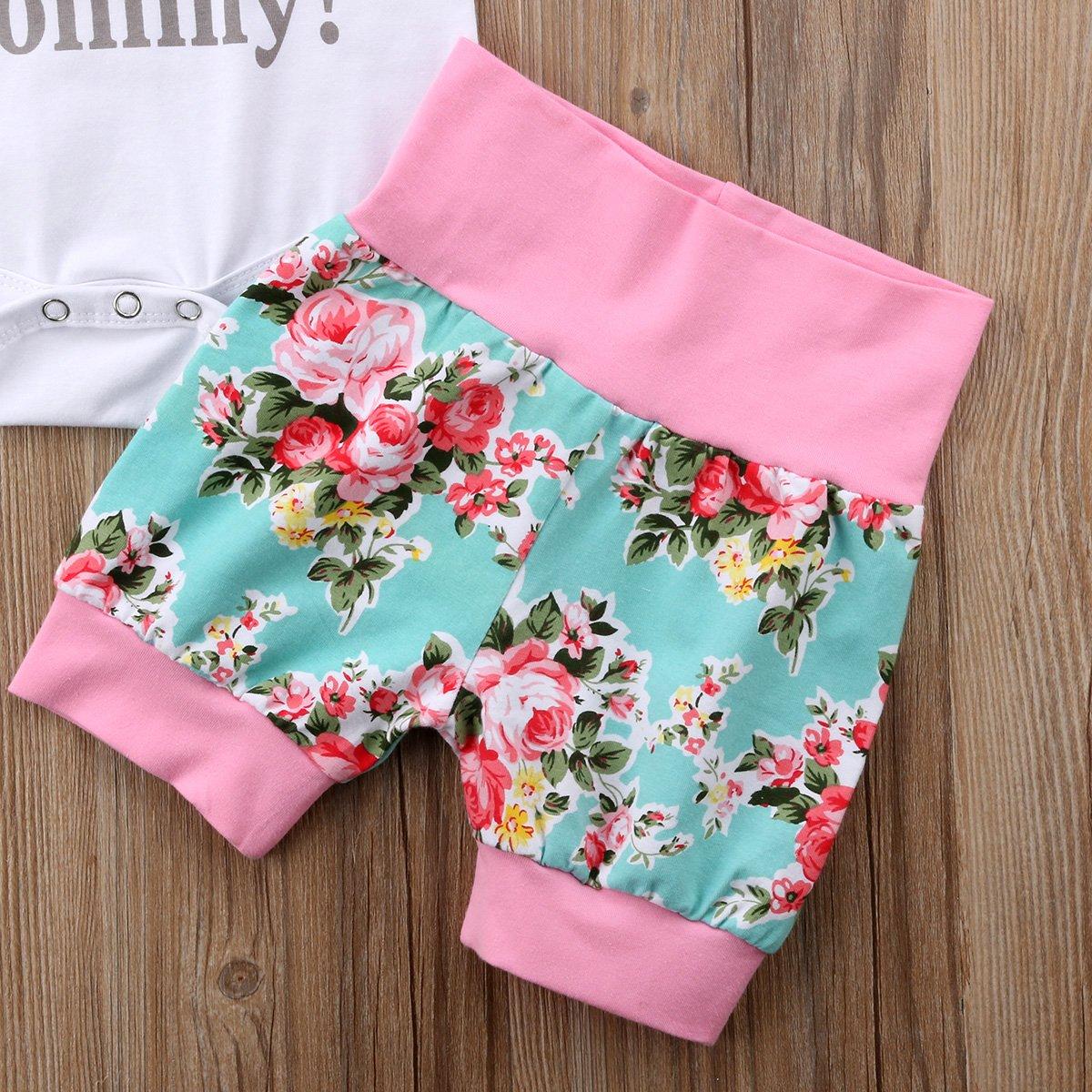 Neugeborenes Baby L/ässige Kleidung Set f/ür Muttertag Vatertag Rundhals Kurzarm Wei/ß Strampler Floral Short Hat Outfits Set 3 St/ück 0-24 Monate