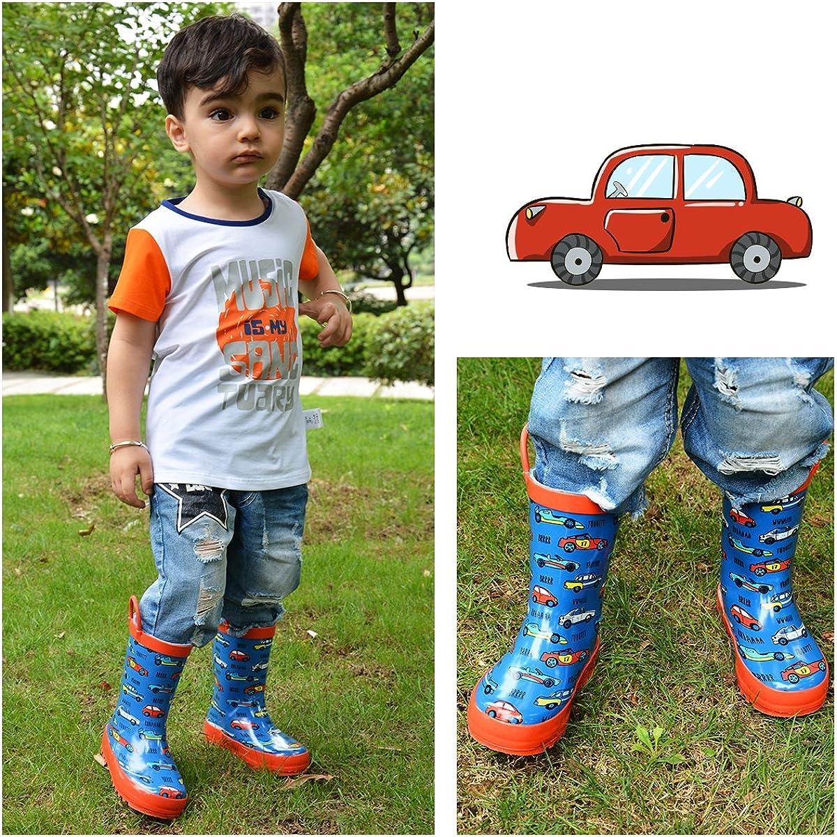 K KomForme Kids Boy Rain Boots Waterproof Rubber Printed with Handles