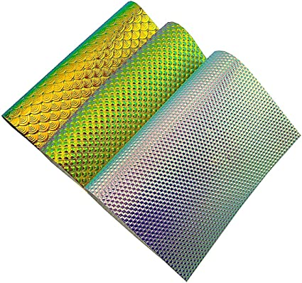 for bow making approx A4 Metallic Rainbow Stripe Vinyl Fabric Sheet