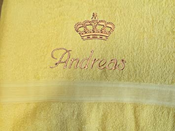 Toalla con nombres + corona bordado, 50 x 100 cm, varios colores, Super Premium de calidad, 100% algodón de 500 g/m² amarillo: Amazon.es: Hogar