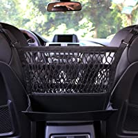 AMEIQ 3-Layer Car Mesh Organizer with Leather Box, Seat Back Net Bag, Barrier of Backseat Pet Kids, Cargo Tissue Purse…