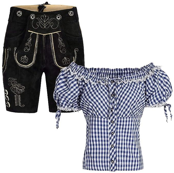 Damen Set Trachten Lederhose Shorts schwarz kurz mit Träger