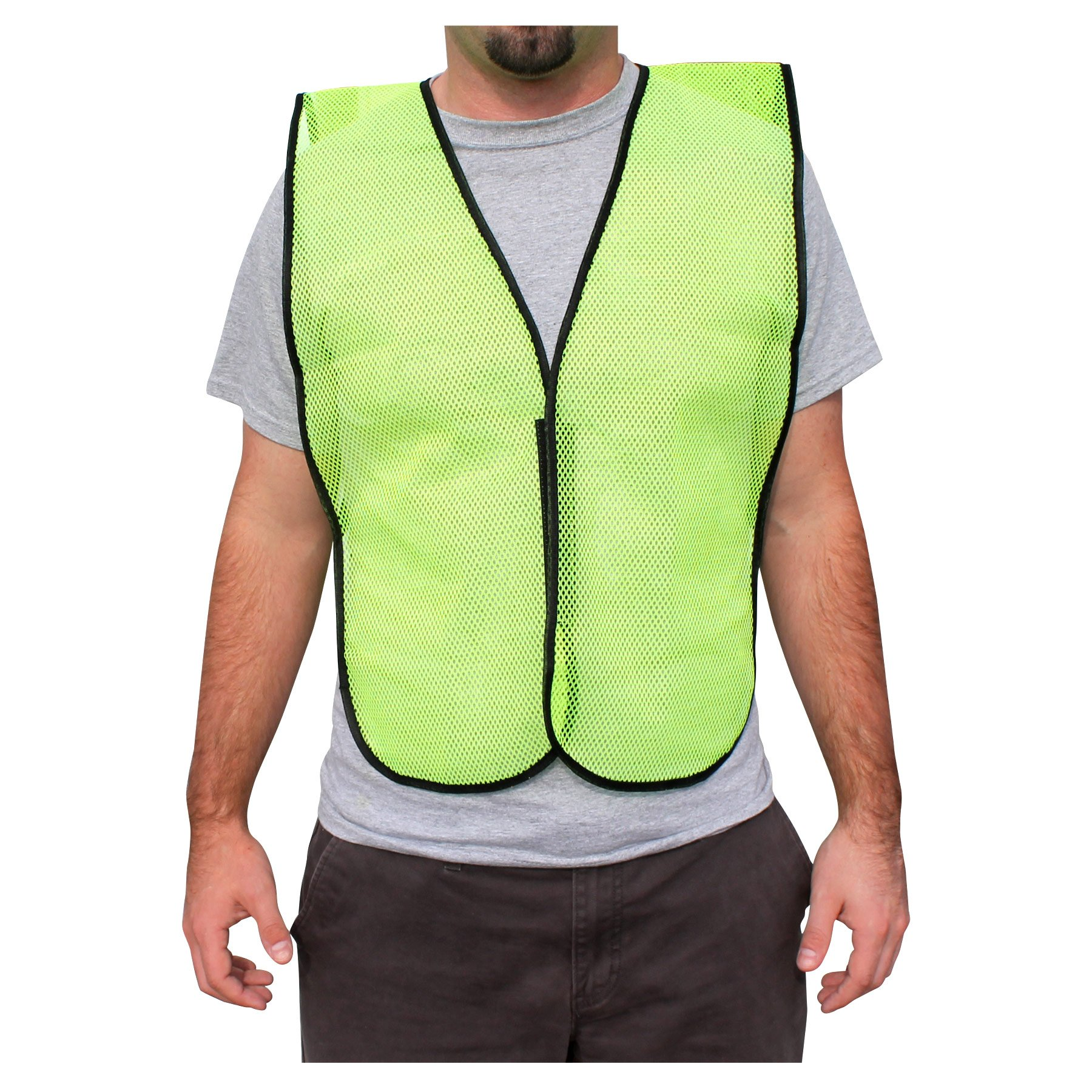 Rugged Blue RB Mesh Fabric Economy Non-ANSI Safety Vest, X-Large, Hi-Vis Yellow