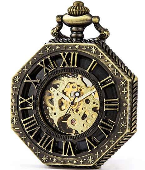 SEWOR Octagon Old School estilo Hollow números romanos mecánica mano viento reloj de bolsillo (bronce