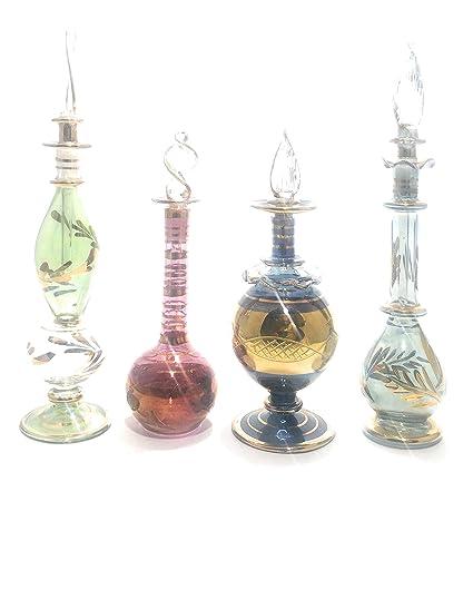 The Egyptian House - Juego de cuatro botellas de perfume egipcio de gran tamaño sopladas a