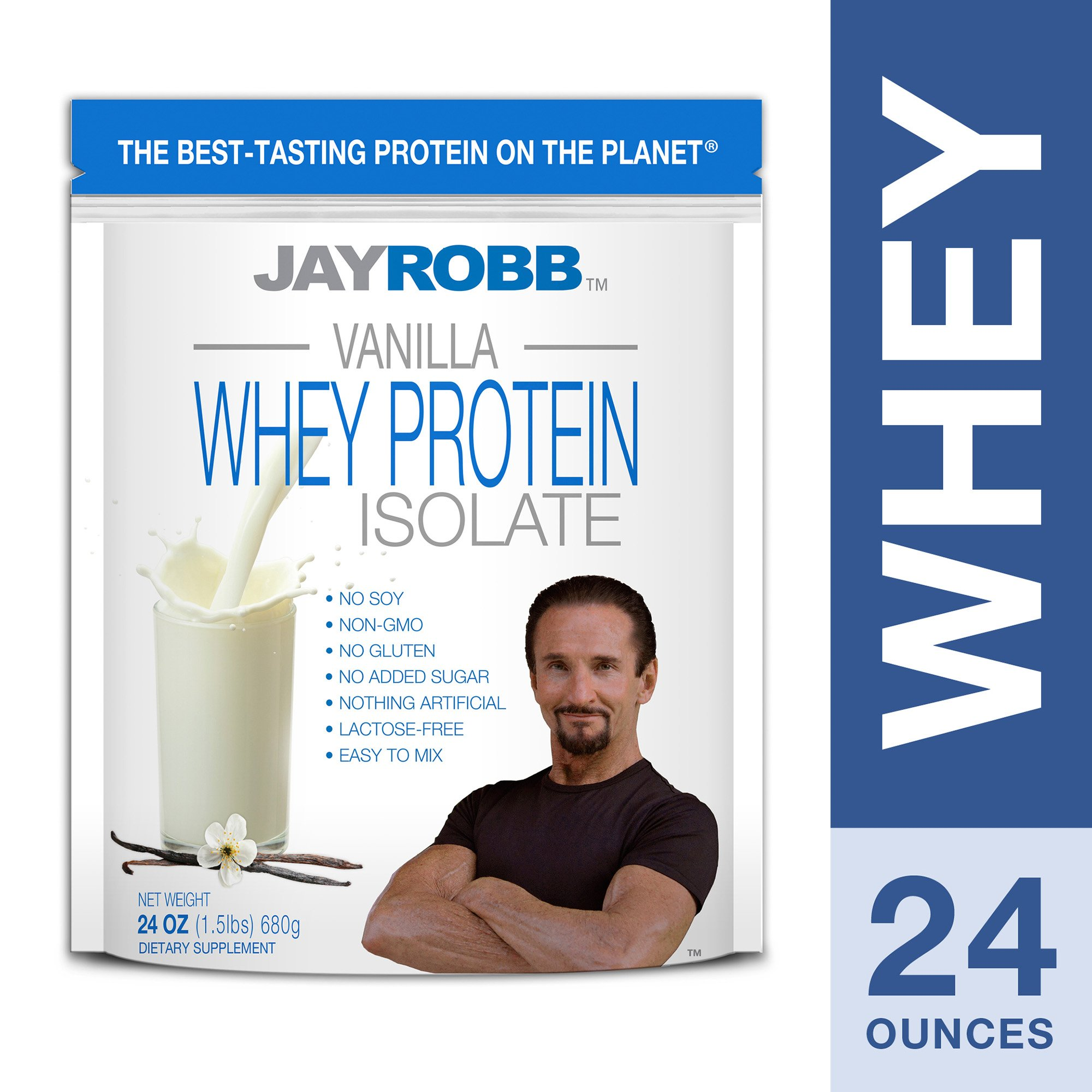 Jay Robb - Grass-Fed Whey Protein Isolate Powder, Outrageously Delicious, Vanilla, 23 Servings (24 oz) by Jay Robb