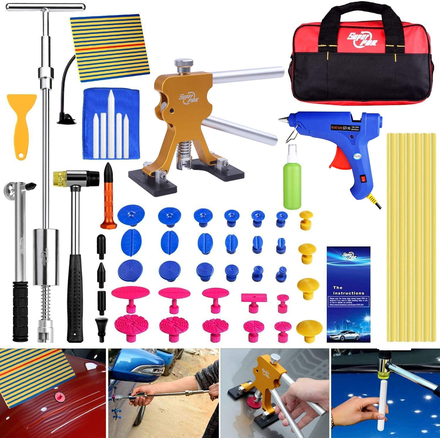 Amazon Com Super Pdr 51pcs Paintless Dent Repair Tools Kit Golden Dent Lifter Slide Hammer 2 In 1 T Bar Tool With Hot Melt Glue Gun Glue Stick For Auto Body Dent Repair Or