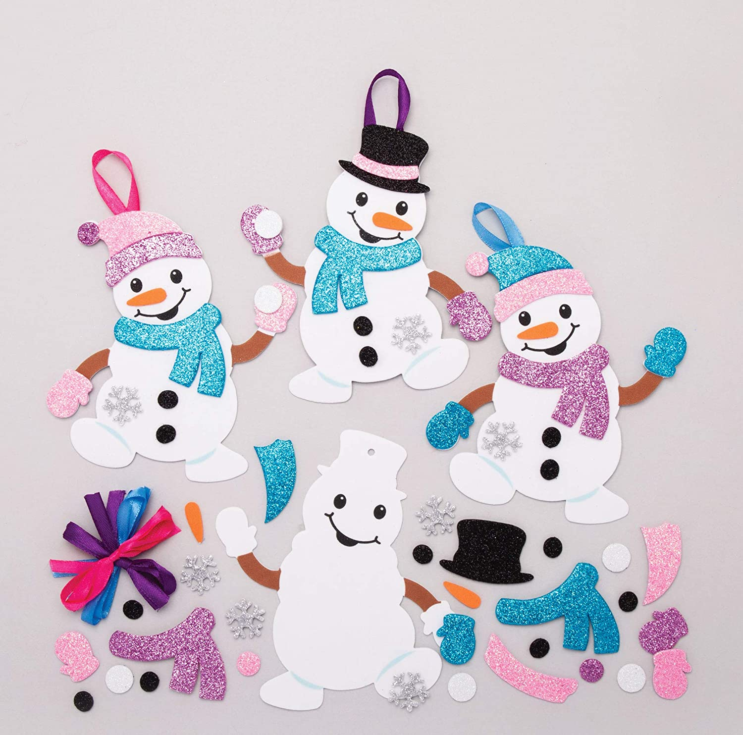 Baker Ross At160 Snowman Mix Match Decoration Kits Pack Of 6 Christmas Arts And Crafts Assorted Amazon Co Uk Business Industry Science
