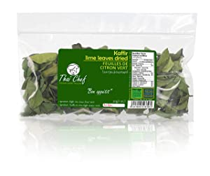 Thaï Chef : Dried-Kaffir-Lime-Leaves, 30g | Curry Leaves, Premium Gourmet Ingredient for Thai & Asian Cuisine , De naturel 100%