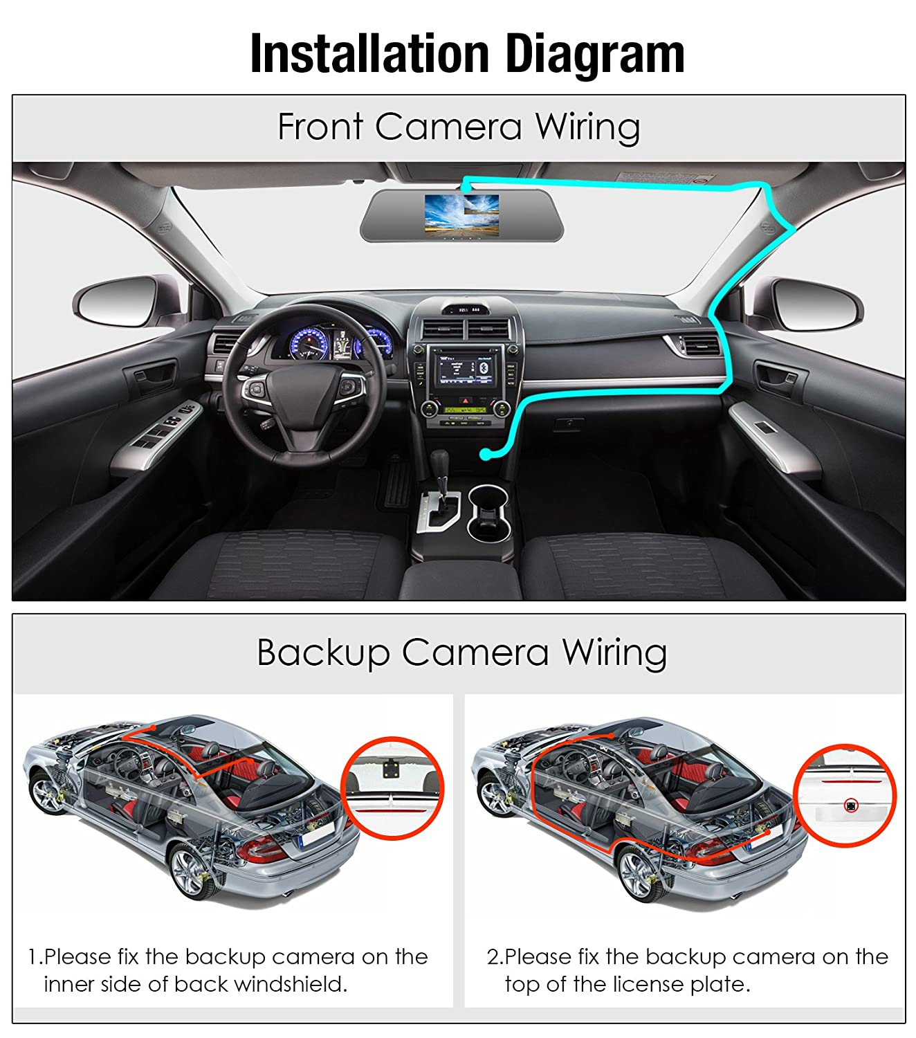 Pumpkin Mirror Dash Cam Front And Rear 1080p Ahd 720p Dual Camera Wiring Diagram With Starlight Level Night