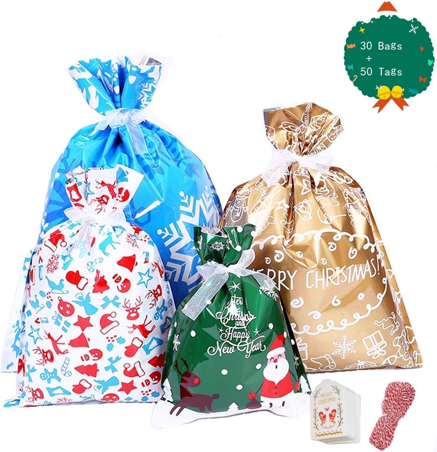 YAAVAAW 30Pz Bolsas Grandes de Regalo de Navidad(con Cintas y 50 etiquetas),Envoltura de Regalos Bolsas para Regalos Navidad Bolsas Suministros de fiesta de Navidad,Bolsas de regalo de Año Nuevo
