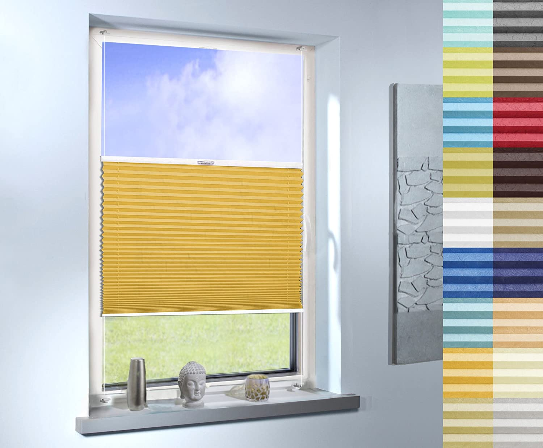 Plissee nach Maß, hochqualitative Wertarbeit, Design  Crush, für Fenster und Türen, alle Größen, Maßanfertigung (Farbe  Light Orange, Höhe  91-100cm, Breite  131-140cm)
