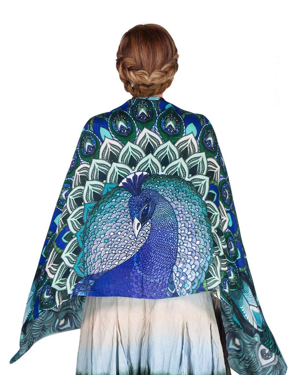 Aqua Peacock Scarf, 100% Silk hand painted Blue Winged Feather Wrap, Wedding Shawl by Shovava