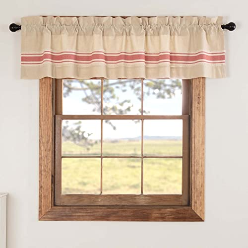 Piper Classics Farmhouse Red Grain Sack Stripe Valance, 16 x 72 , Kitchen Bathroom Livingroom Curtain, Beige Chambray, Lined