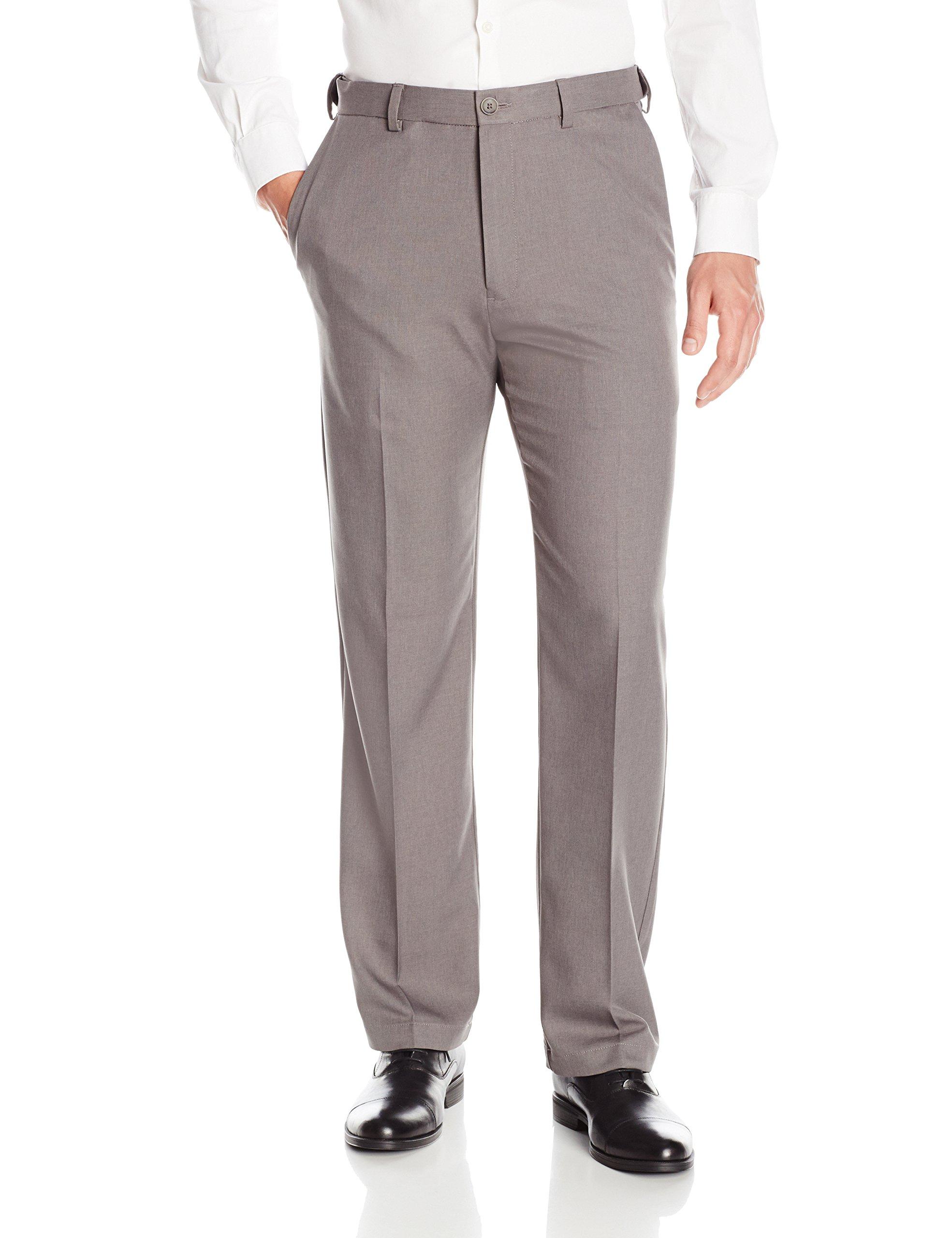 Haggar Men's Cool 18 PRO Classic Fit Flat Front Expandable Waist Pant, Heather Grey, 46Wx34L