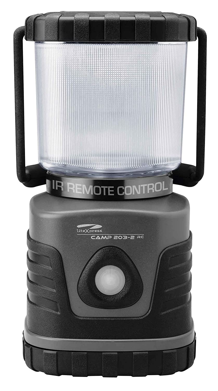 LiteXpress lxl906106rc-2Camp 203–2RC LED Camping Lanterne avec télécommande, 620lm, plastique, gris/noir, 12.2x 12.2x 24cm