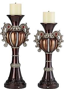 OK Lighting Delicata Candleholder Set, Silver, Brown and Bronze