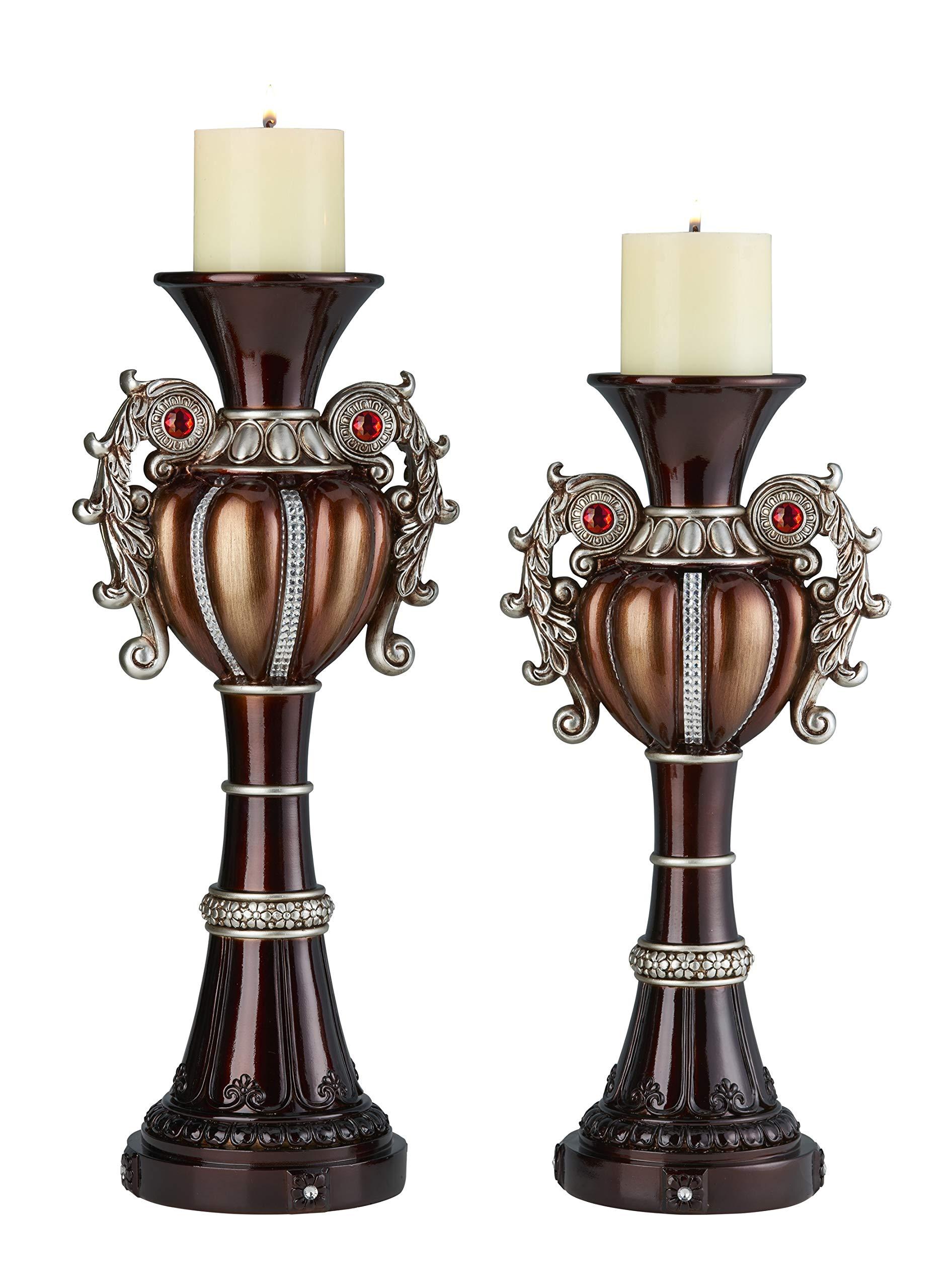 OK Lighting Delicata Candleholder Set Silver, Brown and Bronze