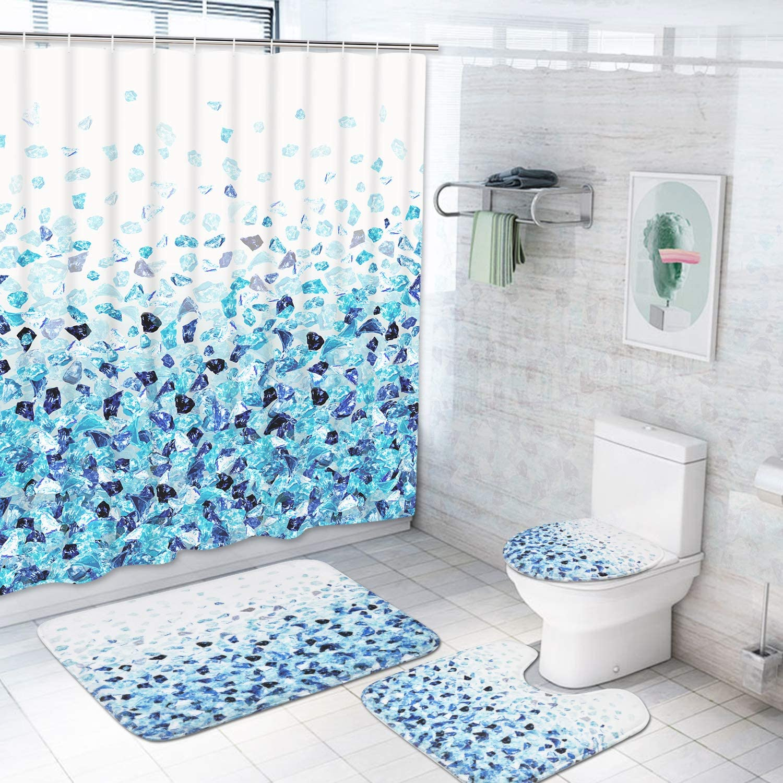 4Pcs Bathroom Accessories Fabric Shower Curtain Toilet Cover Rugs Bath Mat Set