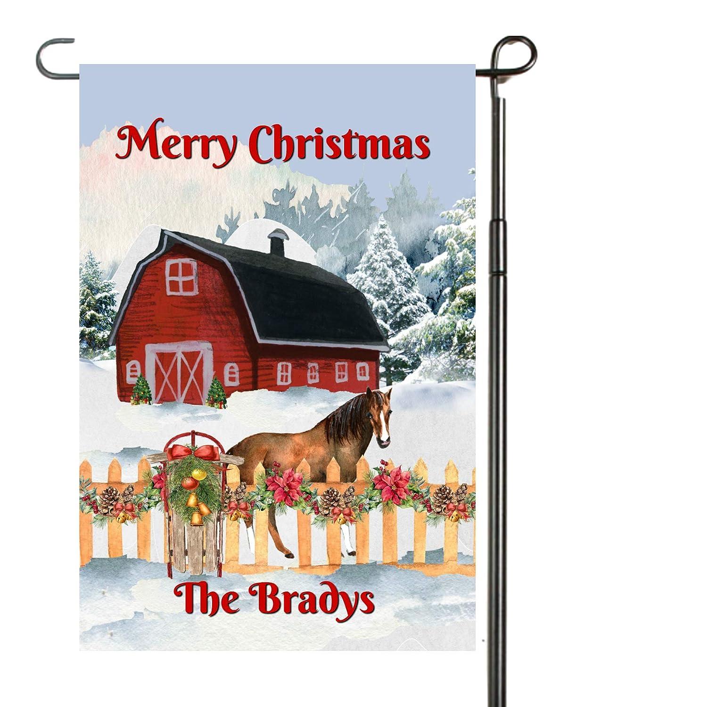 Christmas Horse Barn Garden Flag, Barn Christmas Flag, Horse Gift, Personalized Garden Flag, Christmas Garden Flag, Custom Garden Flag