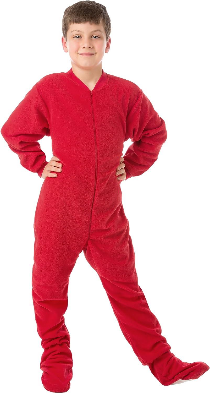 Kids /& Infant Big Feet Pjs Red Fleece Footed Pajamas Adult