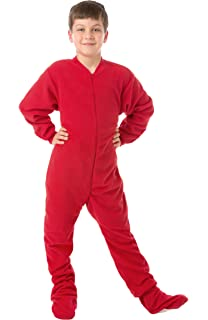 Amazon.com  Big Feet Pjs Boys   Girls Junior Navy Fleece Kids Footed ... 4d2c7ba13