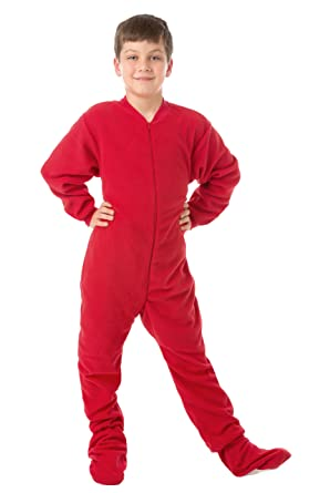 2f88da18bfe7 Amazon.com  Kids Red Fleece Boys   Girls Footed Pajamas Onesie  Clothing