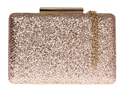95e59da770 Girly HandBags Luxury Womens Sparkly Hard Case Glitter Clasp Clutch Bag  Evening Party - Champagne  Amazon.co.uk  Shoes   Bags