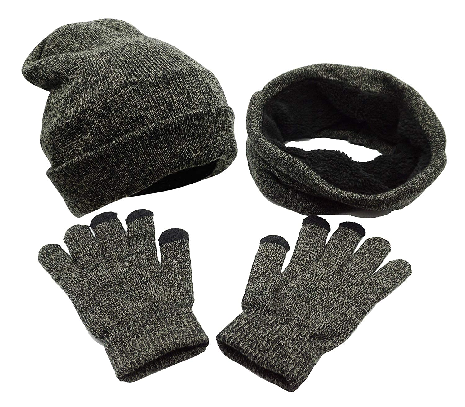 Bienvenu 3 Pieces Knitted Hat Set Winter Thick Warm Knit Hat + Scarf + Touch Screen Gloves Black ZLM18080043