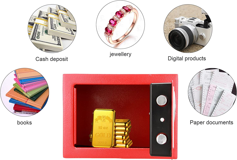 ANMAS HOME Caja de Seguridad electr/ónica Digital Personal con Caja de Seguridad Color Rojo