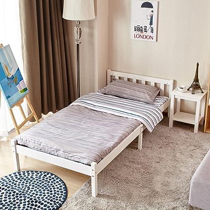 Telaio per letto matrimoniale in legno, colore: legno di pino/bianco ...