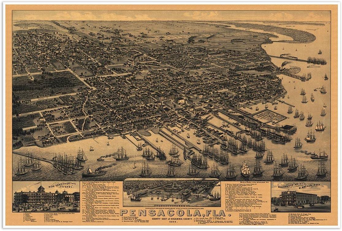 Bird/'s Eye View 1876 Santa Rosa California Vintage Style City Map 24x36