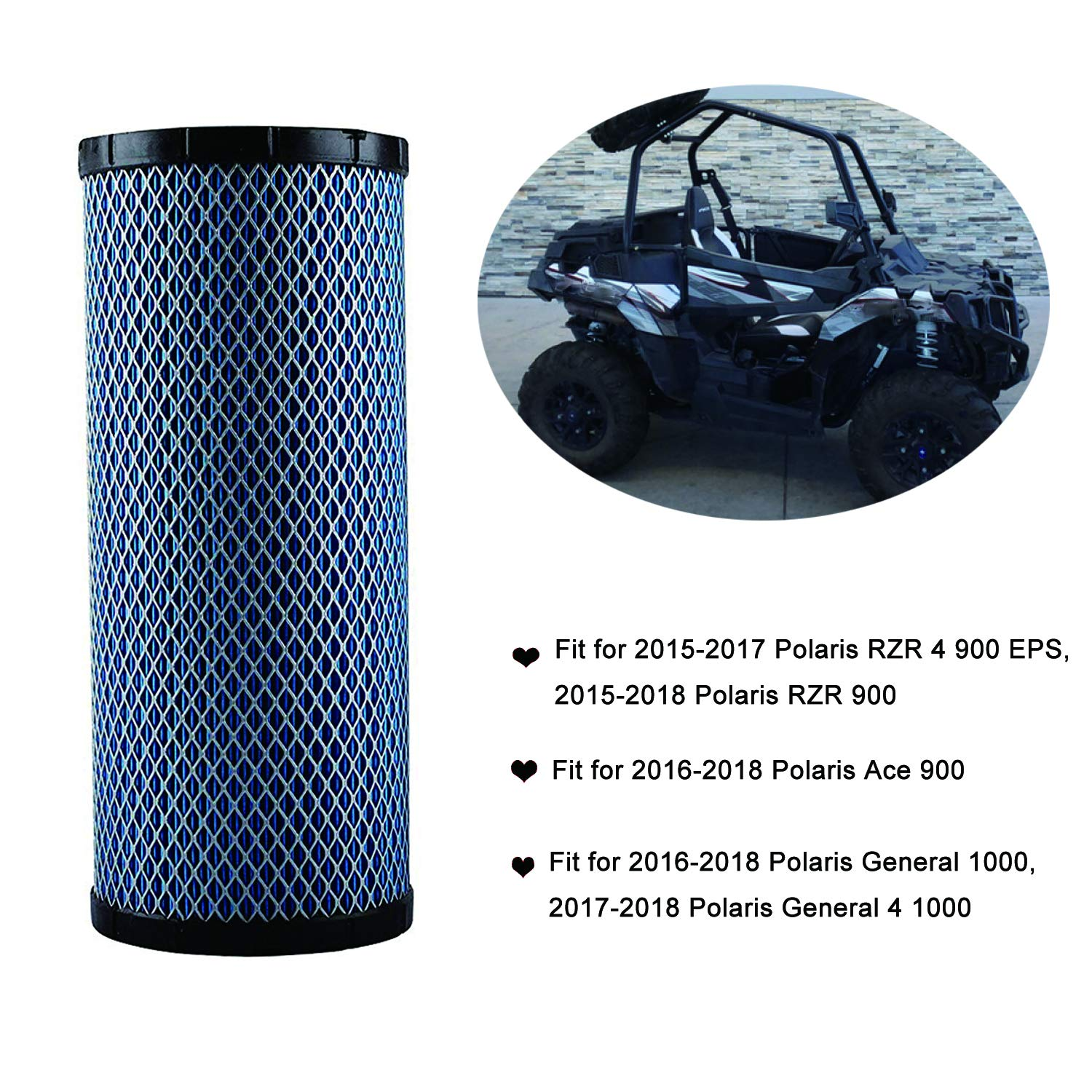 7082115 Air Filter Replacement Compatible with Polaris ACE 900, General 1000, General 4 1000, RZR 4 900, RZR 900, RZR S 1000 2015-2018 by Wddby (Image #5)