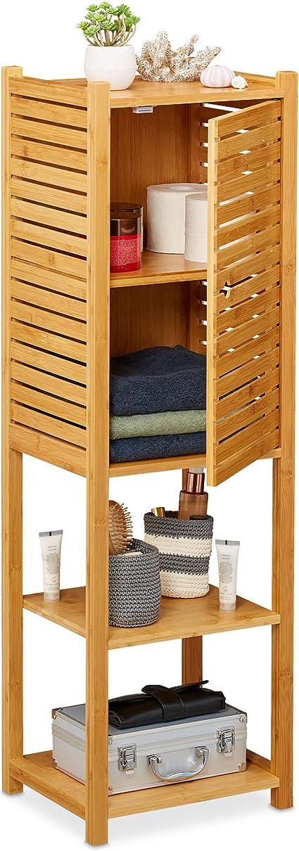Relaxdays Estantería de baño, Cinco baldas, con Puerta, Mueble Auxiliar Estrecho, Bambú, 113 x 35 x 29 cm, 1 Ud, Marrón