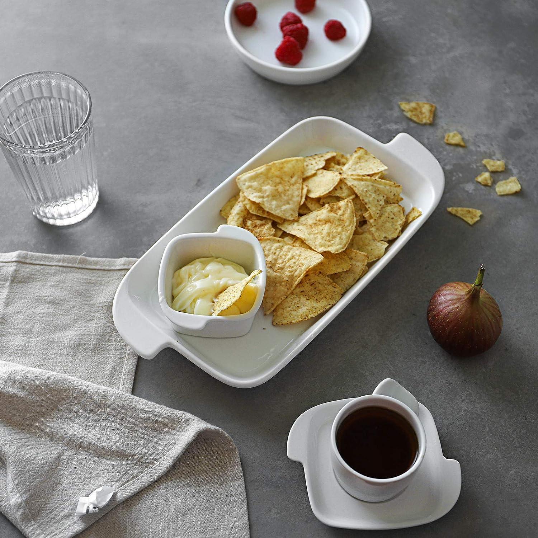 White Dinner Plates Rectangular Set of 4 DOWAN Serving Platter Steak Salad Pasta Ceramic Stackable Dish Set Microwave Safe Serving for Dessert Appetizer 10 inches Porcelain Platter with Handle