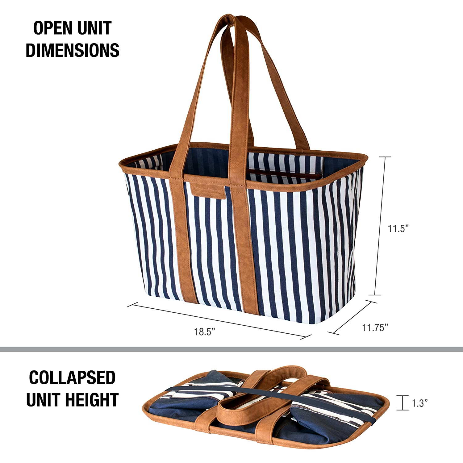 CleverMade 30L SnapBasket LUXE Reusable Collapsible Durable Grocery Shopping Bag Nautical Heavy Duty Large Structured Tote