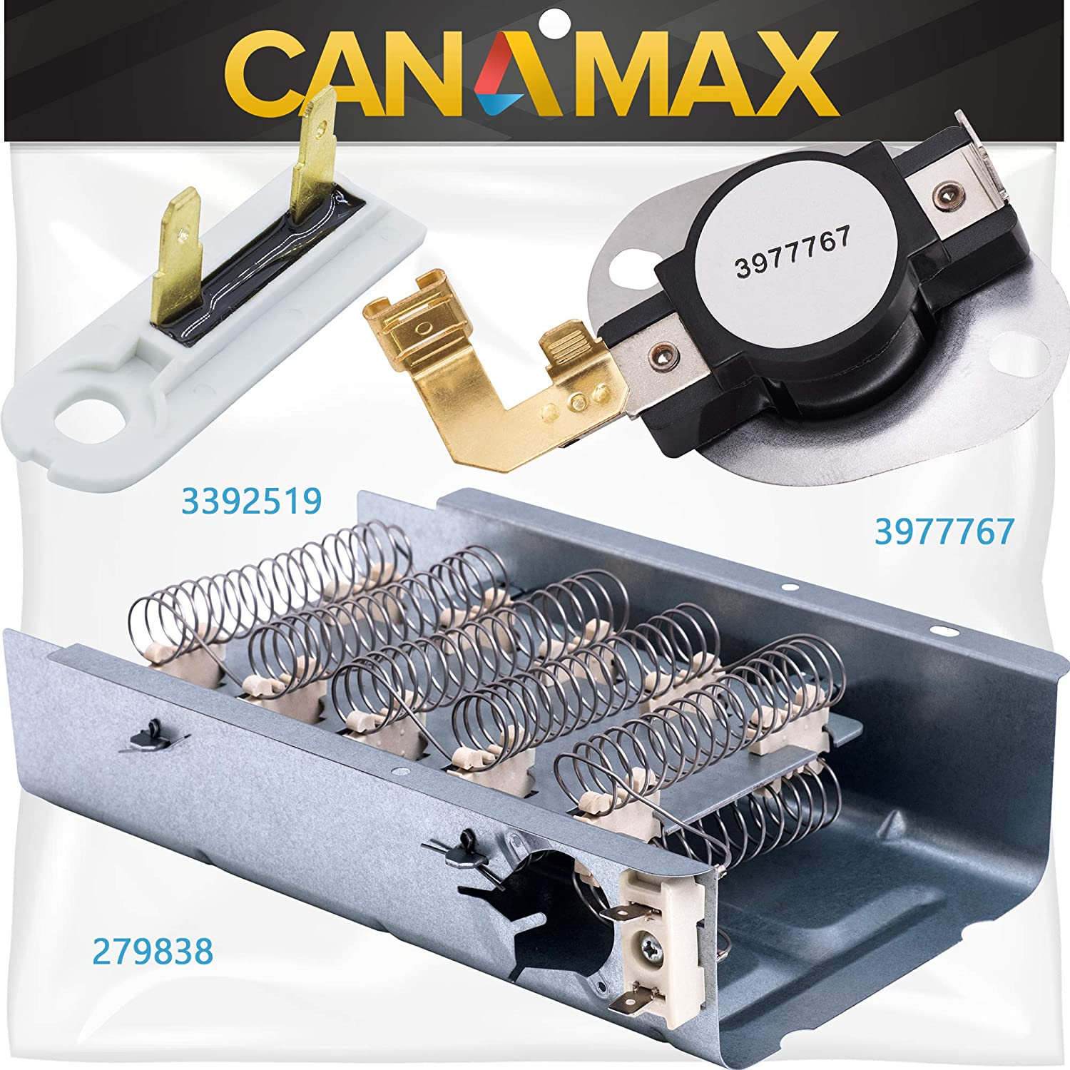 279838 Dryer Heating Element 3977767 3392519 Thermal Fuse Thermostat Kit Premium Replacement by Canamax - Compatible with Whirlpool Kenmore Roper Maytag Estate Dryers