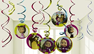 Masha and the Bear Birthday Party Decor Hanging Decoration Swirls Package of 12 Assorted Set Masha y el OSO