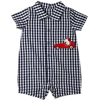 75c64b96f Amazon.com   Carter s Blue White Plaid Boys Romper with Roadster (12 ...