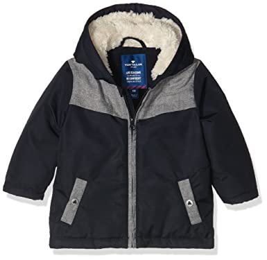 TOM TAILOR Kids Baby Boys casual fabric mix parka Jacket, Blue (knitted  navy) 64078f5089