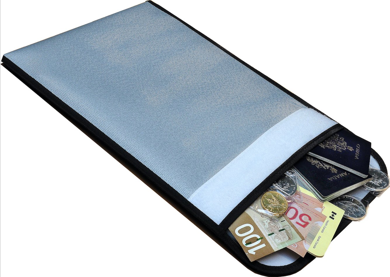 """EMBASSY Fireproof Document and Cash Bag 15"""" x 11"""" - Silicone Coated Fire Resistant Money Pouch for Passports, Jewelry, Certificates, Titles, Birth Certificates - Safe Fire Proof Protection"""