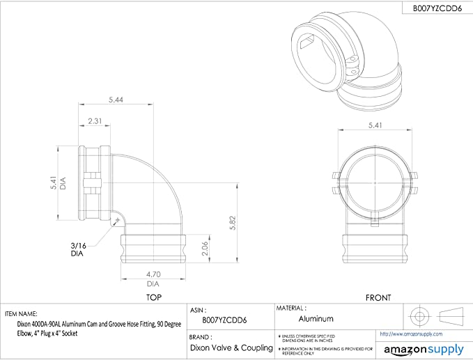 90 Degree Elbow 4 Socket x 4 Hose ID Barbed Dixon 400C-90AL Aluminum Type C Cam and Groove Hose Fitting